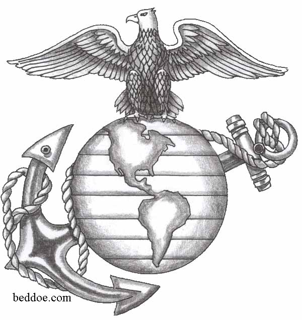 Here's what the tattoo looked like once completed. The USMC lettering was